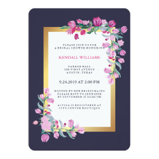 Midnight Blue, Gold and Pink Bougainvillea Flowers Card