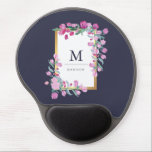 "Midnight Blue, Gold and Pink Bougainvillea Flowers Gel Mouse Pad<br><div class=""desc"">This beautiful mouse pad features a midnight blue background,  and a faux gold frame surrounded by pretty pink bougainvillea flowers. Personalize with your name and monogram to make it your own. We have used art from LABFcreations.</div>"