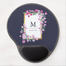 Midnight Blue, Gold And Pink Bougainvillea Flowers Gel Mouse Pad at Zazzle