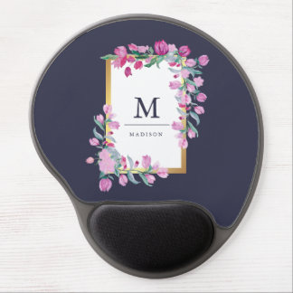 Midnight Blue, Gold and Pink Bougainvillea Flowers Gel Mouse Pad