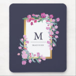 "Midnight Blue, Gold and Pink Bougainvillea Flowers Mouse Pad<br><div class=""desc"">This beautiful mouse pad features a midnight blue background,  and a faux gold frame surrounded by pretty pink bougainvillea flowers. Personalize with your name and monogram to make it your own. We have used art from LABFcreations.</div>"