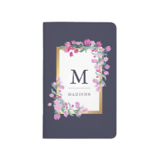 Midnight Blue, Gold and Pink Watercolor Flowers Journal