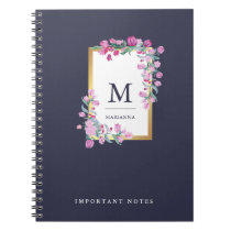 Midnight Blue, Gold and Pink Watercolor Flowers Notebook