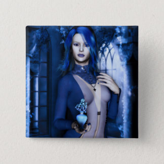 Midnight Blue Goth Witch Fantasy Button