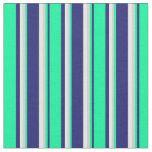 [ Thumbnail: Midnight Blue, Green, Light Grey & Mint Cream Fabric ]