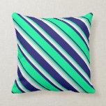 [ Thumbnail: Midnight Blue, Green, Light Grey & Mint Cream Throw Pillow ]