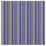 [ Thumbnail: Midnight Blue & Grey Lines Fabric ]