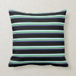 [ Thumbnail: Midnight Blue, Grey, Sea Green, Light Cyan & Black Throw Pillow ]