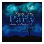 "Midnight Blue Halloween Nightsky Invitation 5.25"" Square Invitation Card"