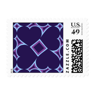 Midnight blue hearts tile pattern postage stamps