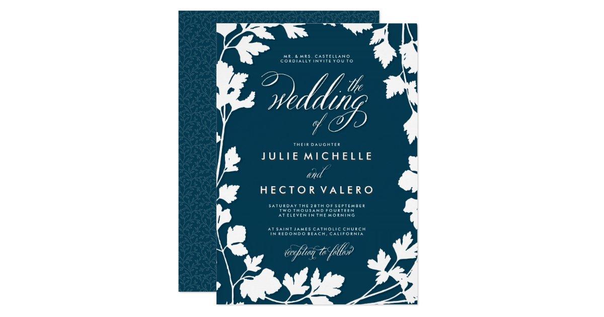Midnight Blue Herb Garden Wedding Card | Zazzle.com
