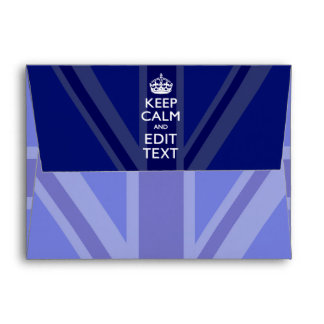 Midnight Blue Keep Calm and Your Text Union Jack Envelope