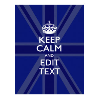 Midnight Blue Keep Calm and Your Text Union Jack Flyer
