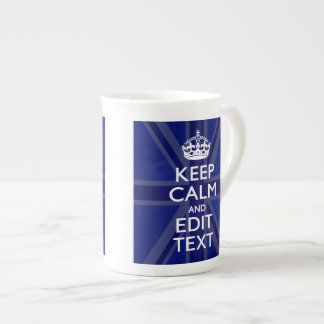Midnight Blue Keep Calm and Your Text Union Jack Tea Cup