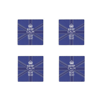 Midnight Blue Keep Calm and Your Text Union Jack Stone Magnet