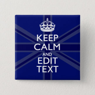 Midnight Blue Keep Calm Get Your Text Union Jack Button
