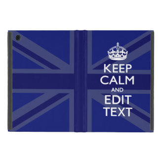 Midnight Blue Keep Calm Get Your Text Union Jack Covers For iPad Mini
