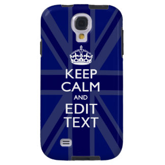 Midnight Blue Keep Calm Get Your Text Union Jack Galaxy S4 Case