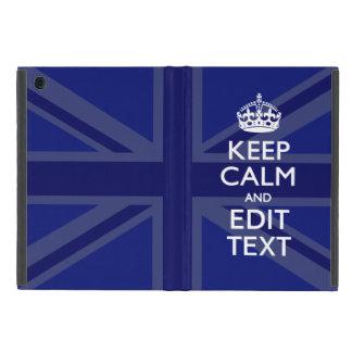 Midnight Blue Keep Calm Get Your Text Union Jack iPad Mini Cover