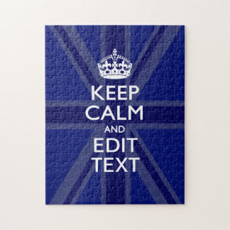 Midnight Blue Keep Calm Get Your Text Union Jack Jigsaw Puzzle