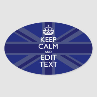 Midnight Blue Keep Calm Get Your Text Union Jack Oval Sticker