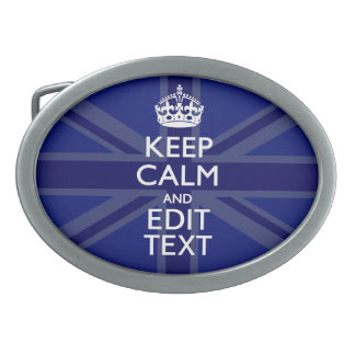 Midnight Blue Keep Calm Have Your Text Union Jack Oval Belt Buckle