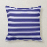 [ Thumbnail: Midnight Blue & Lavender Lined/Striped Pattern Throw Pillow ]