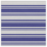 [ Thumbnail: Midnight Blue & Light Gray Colored Lines Fabric ]