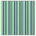 [ Thumbnail: Midnight Blue & Light Green Colored Lines Pattern Fabric ]