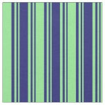 [ Thumbnail: Midnight Blue & Light Green Lines Pattern Fabric ]