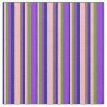[ Thumbnail: Midnight Blue, Light Pink, Green & Purple Colored Fabric ]