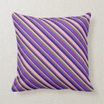 [ Thumbnail: Midnight Blue, Light Pink, Green & Purple Colored Throw Pillow ]