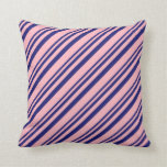 [ Thumbnail: Midnight Blue & Light Pink Striped/Lined Pattern Throw Pillow ]