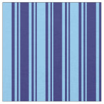 [ Thumbnail: Midnight Blue & Light Sky Blue Pattern of Stripes Fabric ]