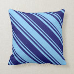 [ Thumbnail: Midnight Blue & Light Sky Blue Pattern of Stripes Throw Pillow ]