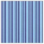 [ Thumbnail: Midnight Blue & Light Sky Blue Stripes Pattern Fabric ]