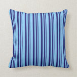 [ Thumbnail: Midnight Blue & Light Sky Blue Stripes Pattern Throw Pillow ]
