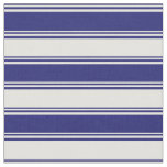 [ Thumbnail: Midnight Blue & Light Yellow Colored Stripes Fabric ]