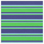 [ Thumbnail: Midnight Blue, Lime Green, and Sky Blue Lines Fabric ]