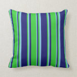 [ Thumbnail: Midnight Blue, Lime Green, and Sky Blue Lines Throw Pillow ]