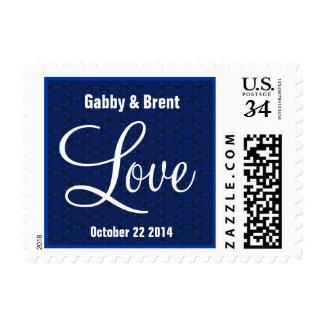 Midnight Blue Love Wedding  G445 Postage Stamp