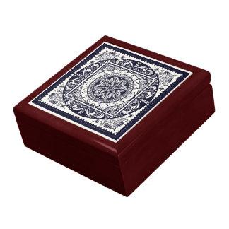 Midnight Blue Mandala Ceramic Tile Box
