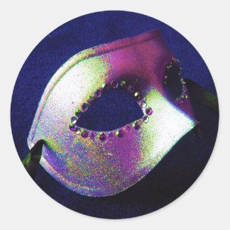Midnight Blue Masquerade Classic Round Sticker