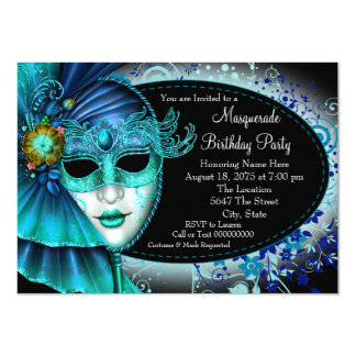 Midnight Blue Masquerade Party Card