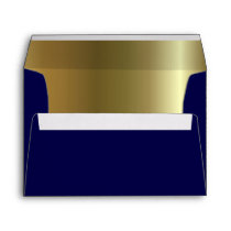 Midnight Blue Metallic Golden Inside A7 Envelope
