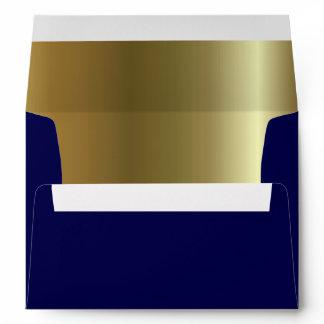Midnight Blue Metallic Golden Inside A7 Envelope