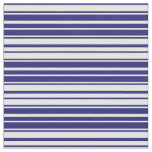 [ Thumbnail: Midnight Blue & Mint Cream Colored Lines Pattern Fabric ]