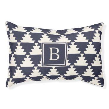 Aztec Themed Midnight Blue Modern Aztec Geometric Monogram Pet Bed
