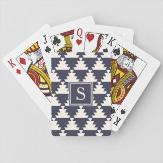Midnight Blue Modern Aztec Geometric Monogram Playing Cards