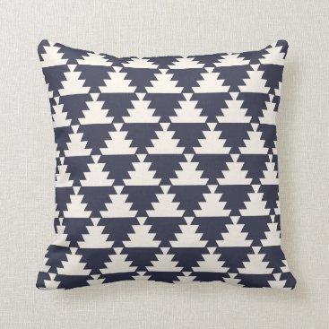 Aztec Themed Midnight Blue Modern Aztec Geometric Pattern Throw Pillow